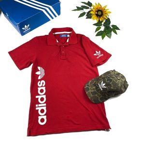 Adidas original 2 button polo shirt spell out